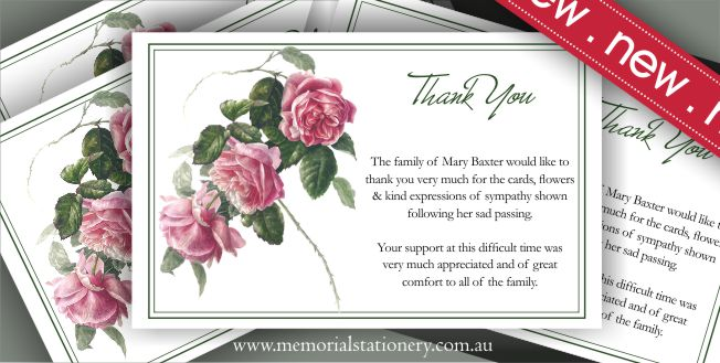 Memorial Funeral Stationery Personalized Funeral Sympathy